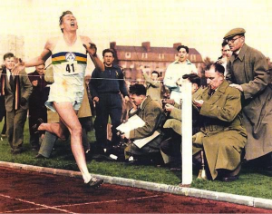 Roger Bannister braking the Four Minute Mile